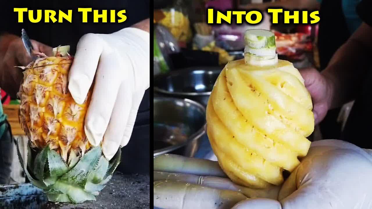 Mini pineapple cutting skills of Thai fruit sellers