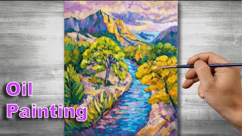 Sunset scenery painting | Oil painting time lapse |#305