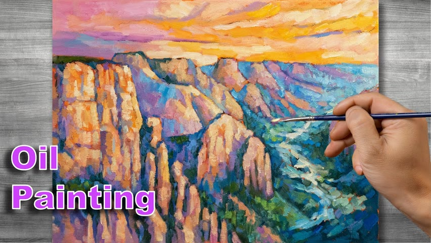 Sunset painting | Oil painting time lapse |#307
