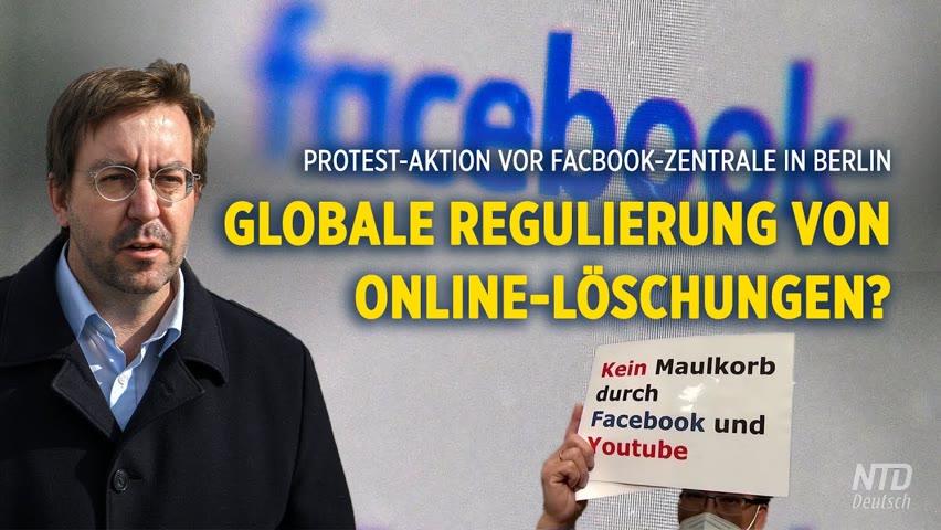 Löschung von Inhalten: 'Reporter ohne Grenzen' protestiert vor Facebook-Zentrale in Berlin