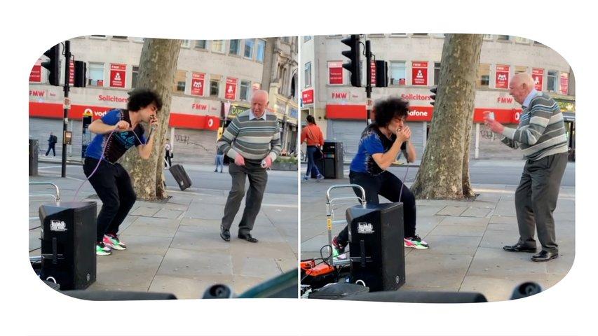 Old Grandpa Vibing to Street Performer in London