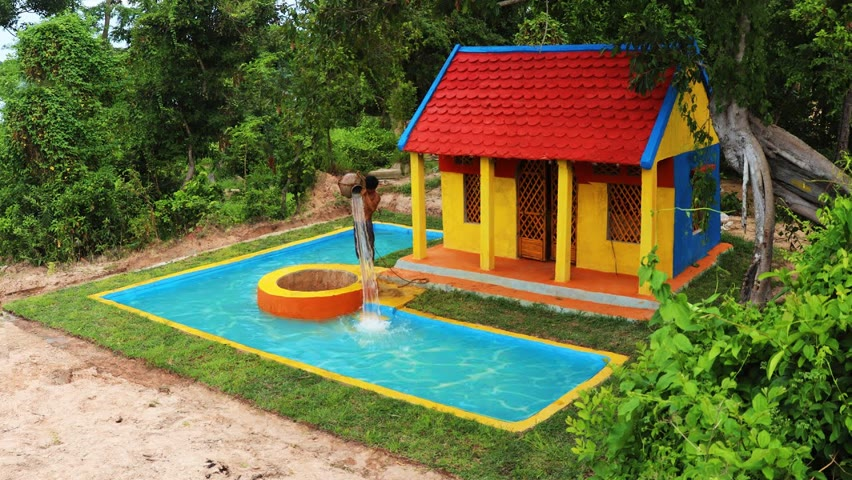Building The Most Beautiful Modern Private Underground Swimming Pool With Water Wells