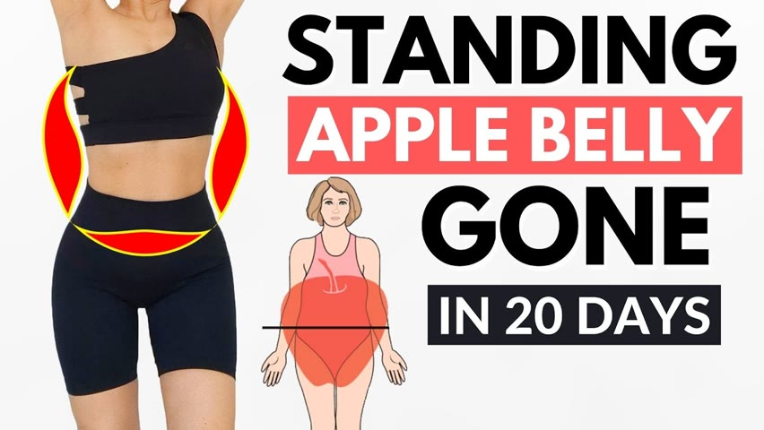 LOSE APPLE BELLY FAT in 20 day easy standing, lower abs & waist, no jumping, knee friendly PART 2