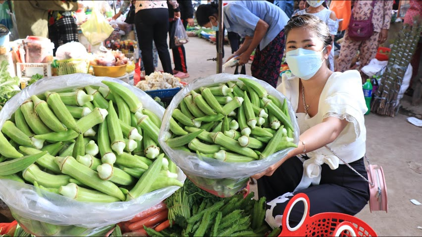 My village market in the morning / Buy fresh okra for my recipe / Countryside life TV