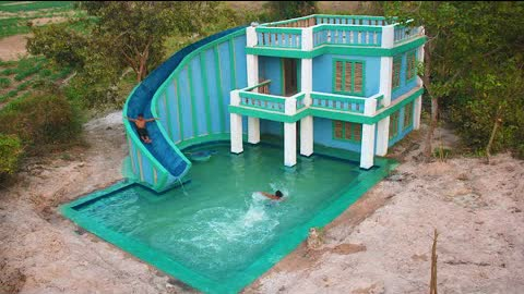 Build Best Design Custom Water Slide To Big Underground Swimming Pool Around Contemporary Mud Villa