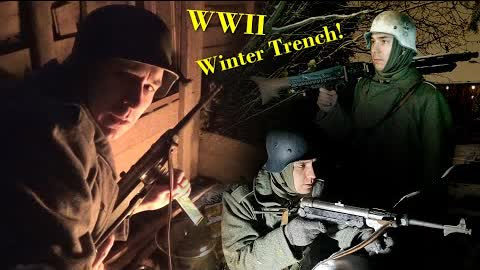Spending the NIGHT in my WW2 TRENCH and BUNKER - WINTER Edition! Battle of the Bulge in my Garden!