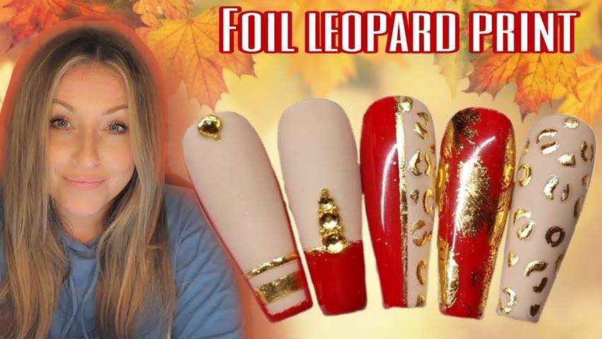 🐆 FOIL LEOPARD PRINT | Gel Polish Nail Art Design | Red Nude Gold Nails | Autumn Fall