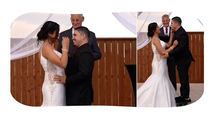 Man Stands Upon Small Stools To Step Up And Kiss Bride During Wedding