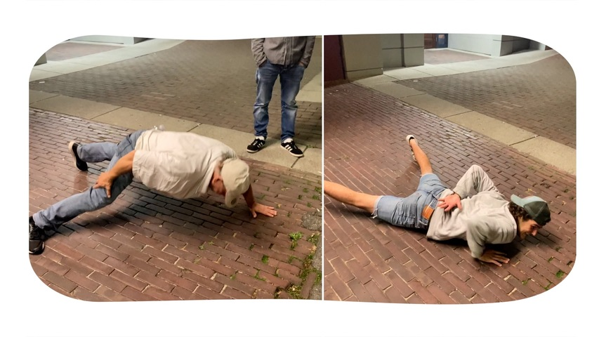 Elderly Man Beats Young Guy In Push up Challenge In Front Of Strangers On the Street