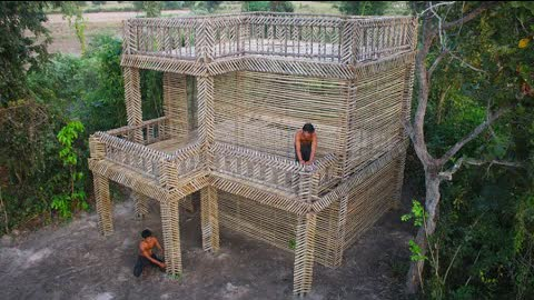 Building The Most creatively  Beautiful 3 Story Design Bamboo Villa In The Forest