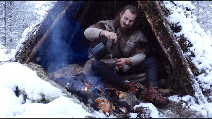 Bushcraft trip - snow, tipi, pine tea, wilderness, reindeer skins, cooking meat etc.