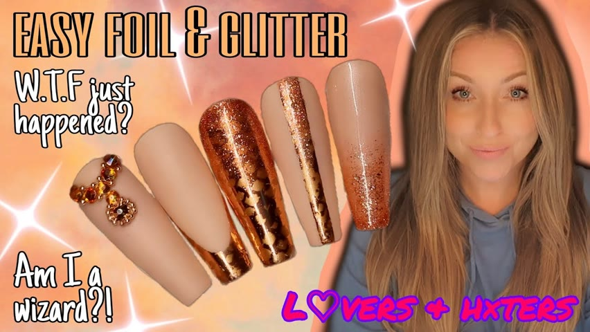 🏆 EASY GOLD FOIL   Gel Polish Nail Art Design   L♡vers & h×ters   Glitter Ombré