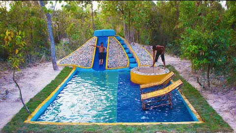 Build Water Well & Natural stone Water Slide Design To Underground Swimming Pool For Entertainment