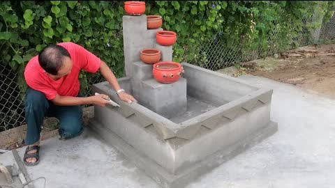 Design 5-Floor Outdoor Water Fountain Very Beautiful With Brick And Cement - Cement Aquarium