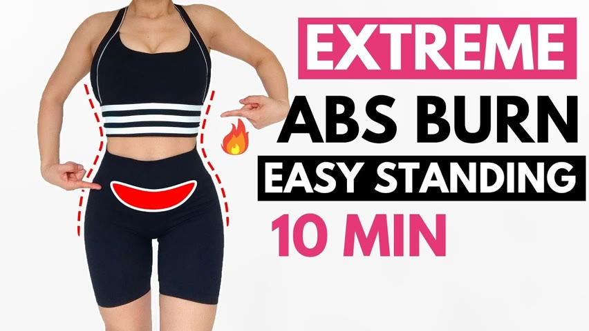 Lose hanging lower belly easy standing workout, 10 min everyday to lose fat & get smaller waist