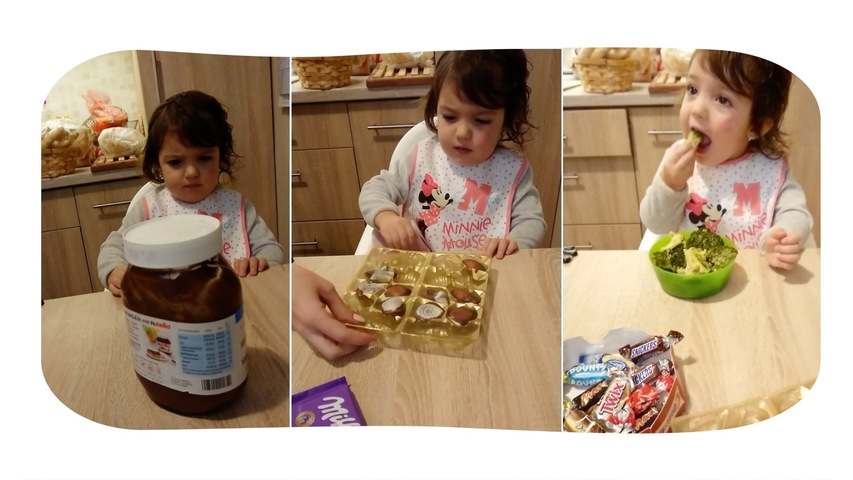 Little Girl Chooses to eat Broccoli Over Chocolates and Candies
