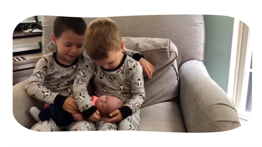 Two Little Boys Meet Newborn Baby for the First Time