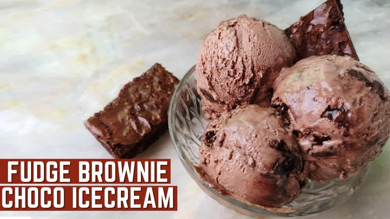 Easy Homemade Chocolate Ice Cream Recipe   Fudge Brownie   Mamagician