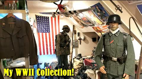 WW2 Private Collection Tour [2021] My WWII History Room - Machine Guns, Helmets, Uniforms and more!!