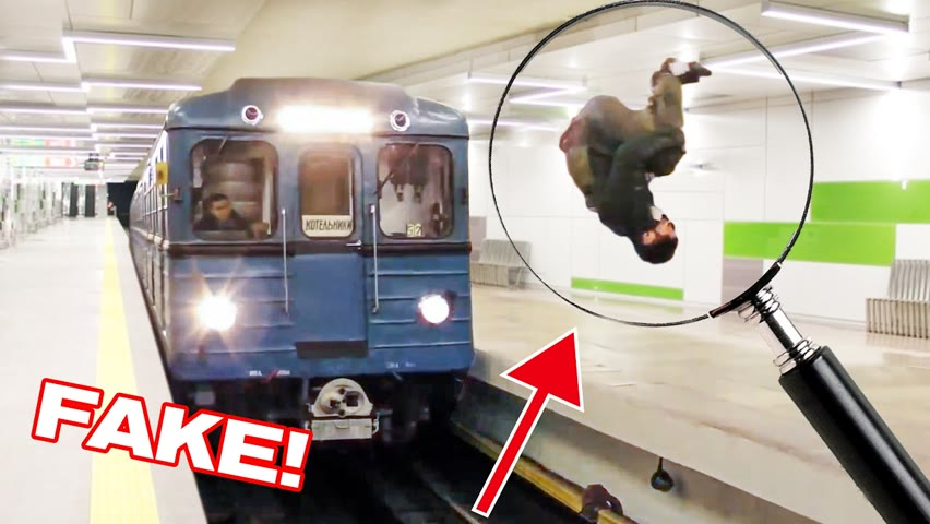Exposing FAKE flip in front of a subway train