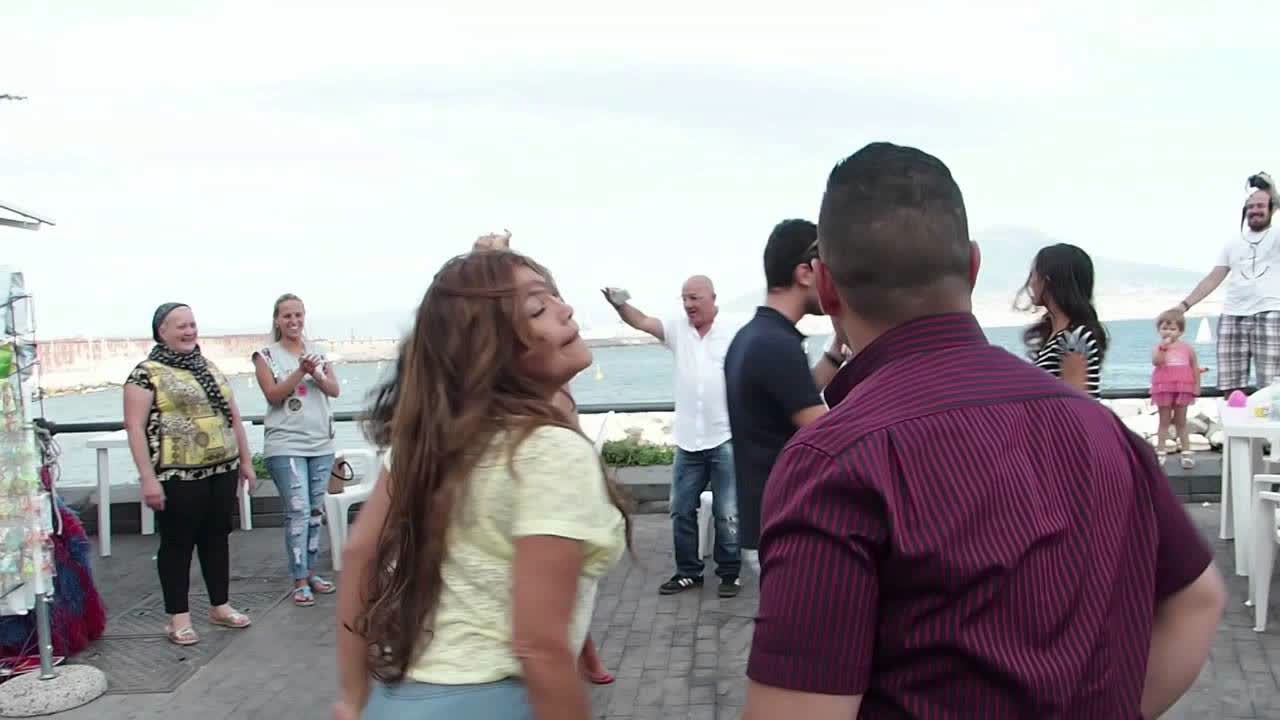 Flash Mob on the Port of Naples, Italy