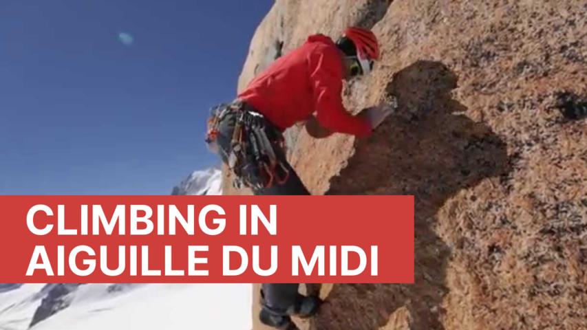Climbing in Aiguille du Midi