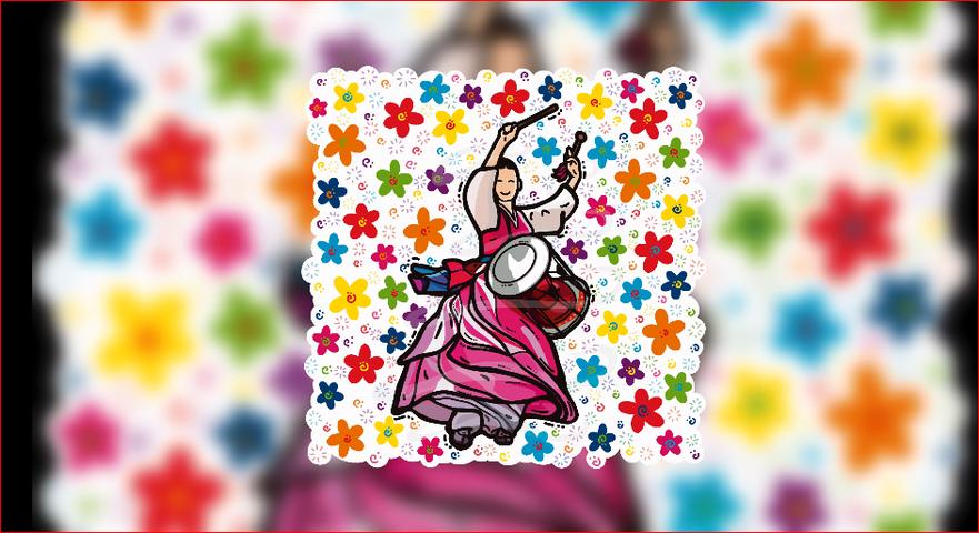 무지개 꽃 한복   장구 춤사위    rainbow floral Hanbok Janggu Dance   RedBubble   DESIGNBRAND Paulo