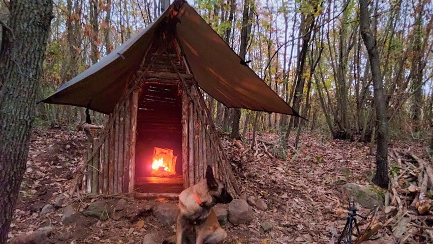 Bushcraft Trip: Survival Tiny House, Off Grid Shelter, Outdoor Camp Cooking, Wild Camping, Diy