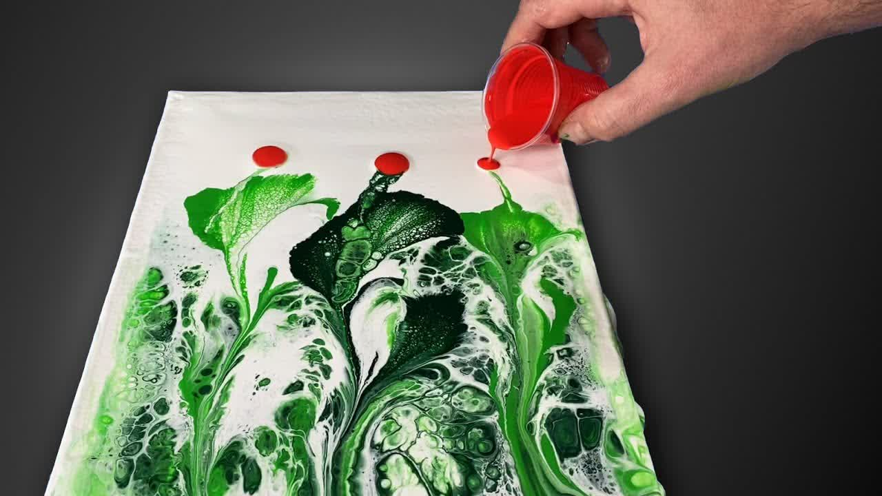 Easy Acrylic Pouring String Pull Satisfying Fluid Art DIY Poppies Painting