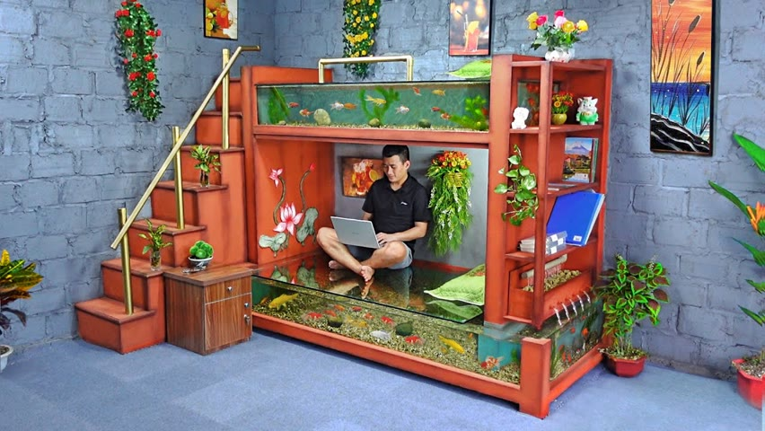 Come up with a crazy idea! A masterpiece ! Make a wonderful fish tank bunk bed