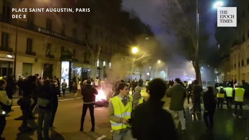Paris France Protests—Burning Scooter