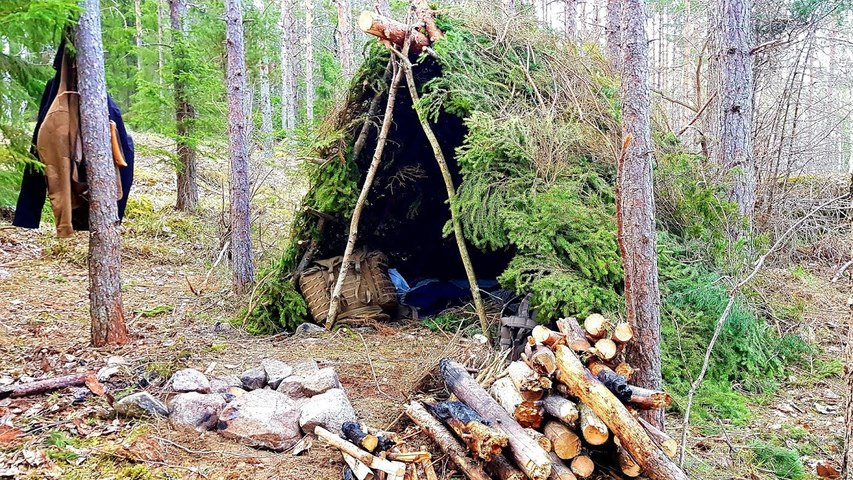 Spring Camping in a Shelter