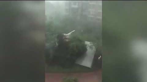 """7月8日下午,上海突然白昼变黑夜,暴雨狂风齐来。上海突然天黑,并下起暴雨。网民称上海犹如""""魔都"""",有""""世界末日的感觉""""。"""