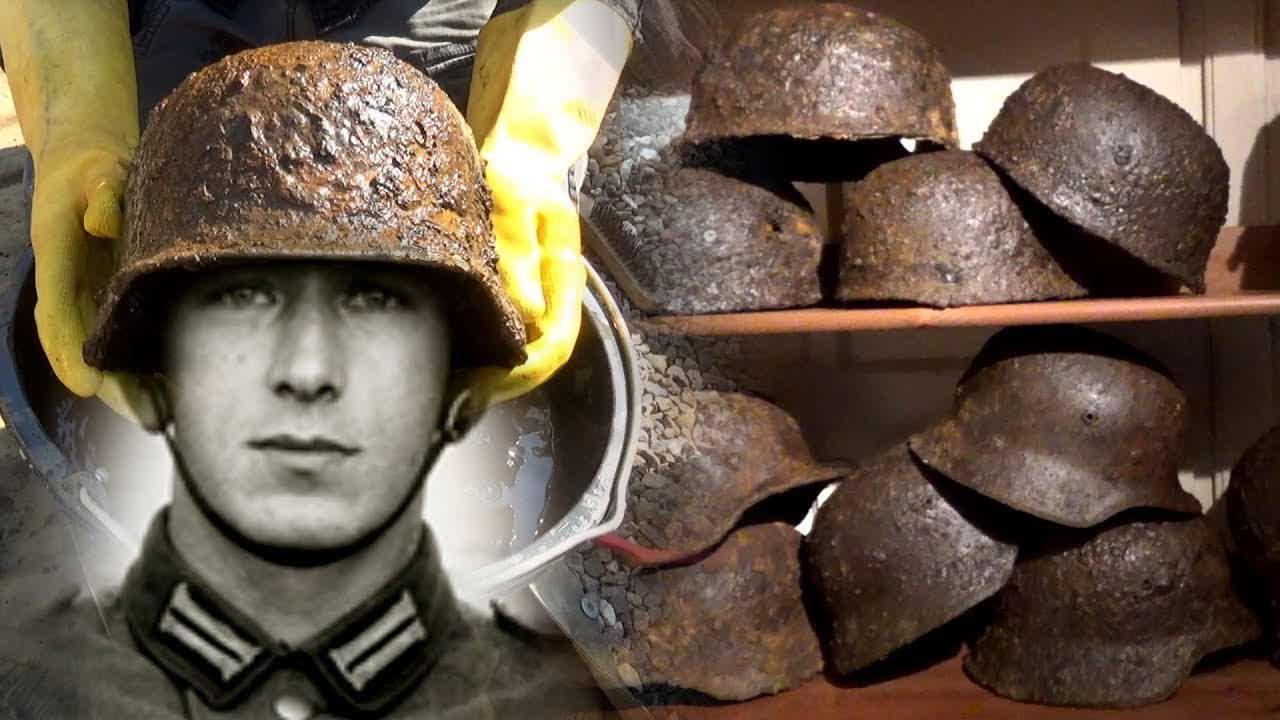 Sad find in a German Helmet - Big German WW2 Dump Hole Relics Cleaning - PART 2