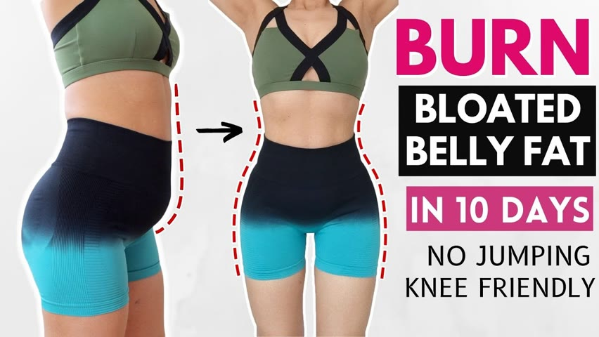 COMPLETE workout to burn bloated belly fat in 10 days, reduce cramp, lose love handles, no jumping
