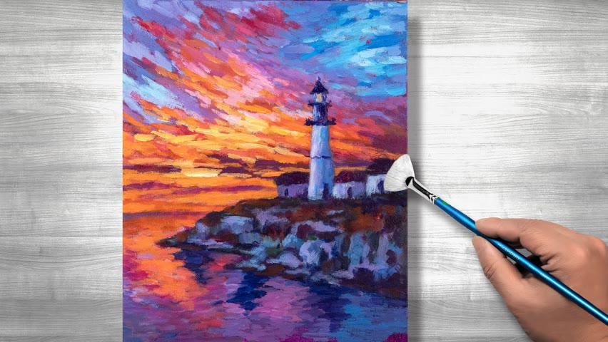 Sunset lighthouse Painting | Acrylic painting | step by step #274