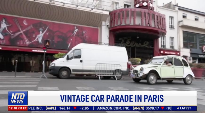 Vintage Car Parade Held in Paris