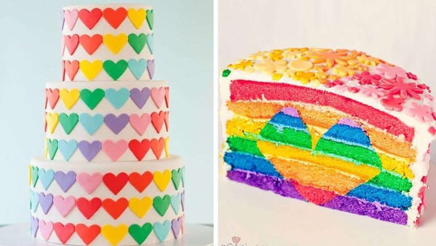 Beautiful Rainbow Hear Cake Decorating Ideas You'll Love | So Yummy Cakes Recipes Compilation