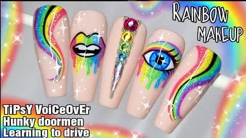 🌈 RAINBOW MAKEUP   Gel Polish Nail Art Design Tutorial   SUMMER Nails   Glitter   Eyeshadow   Lips