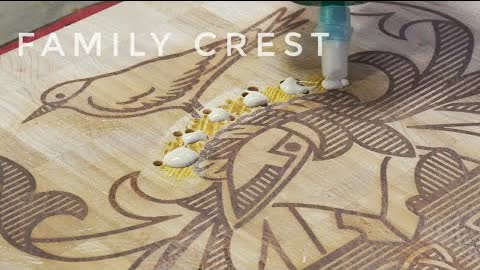 Family Crest board. Not a cutting board. CNC inlay.