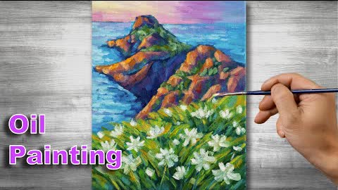Beach scenery painting | Oil painting time lapse |#304