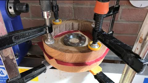 Wood turning - Oak and Ash Bowl (with red Tulipwood inserts)