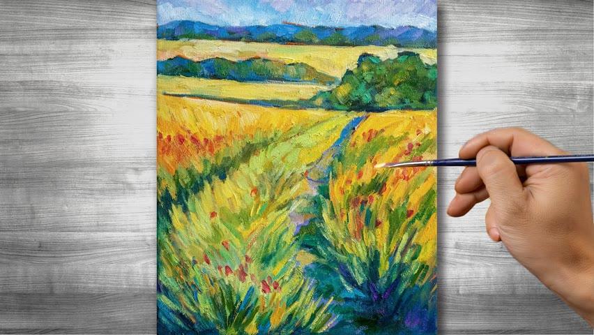 Autumn landscape painting   Oil painting time lapse  #312