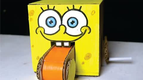 How to Make COIN BANK SPONGE BOB from Cardboard