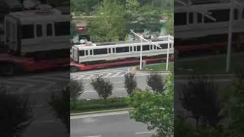 #郑州洪灾 地铁五号线列车车厢清理出来了。网友拍到运输过程,谁能解释一下为什么车厢窗户全部被蒙上了黑布???