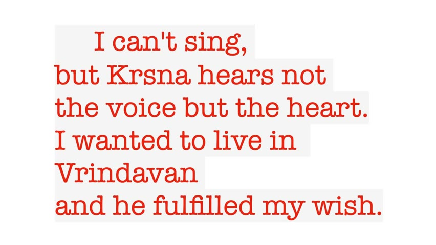 I was praying for life in Vrindavan and Krishna heard me. 01/01/1999