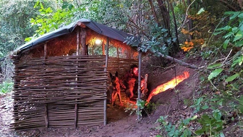 Bushcraft Skills: Primitive Shelter Building, Survival Tiny House, Off Grid Living, Diy, Asmr