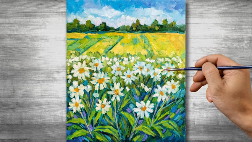 Flower field painting   Oil painting time lapse  #315