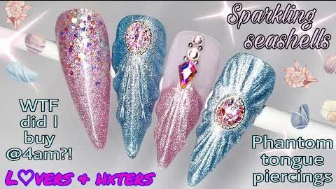 🐚 SPARKLING SEA SHELL   Gel Polish Nail Art Design   Girly Summer Beach Nails   Pink Glitter   EASY
