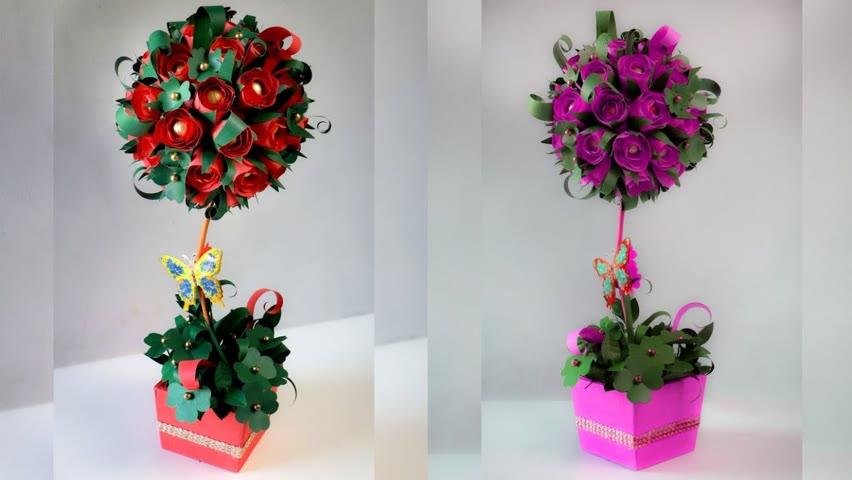 Paper Craft Projects 😍🌹😎 #flowerpot #diycraft #shorts #chatakmatak
